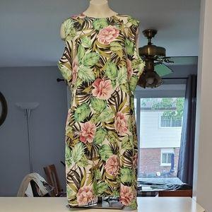 Stunt Lined Tropical Print Sheath Dress